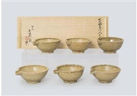 kiseto lipped footed plate (set of 6) by rosanjin kitaoji