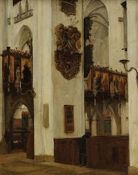 kircheninterieur, st. marien in lübeck by hermann linde