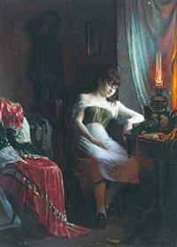 interiør med sovende ung pige i petroleumslampens skær by christian pram henningsen