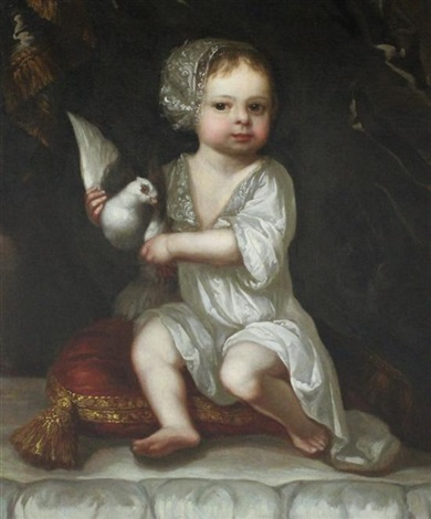 child seated upon a cushion holding a dove believed to be the son of josiah acklam by sir peter lely