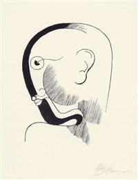 kopf im profil, mit schwarzer kontur by oskar schlemmer