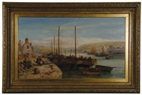 harbour scene, possibly the isle of man by william edward webb