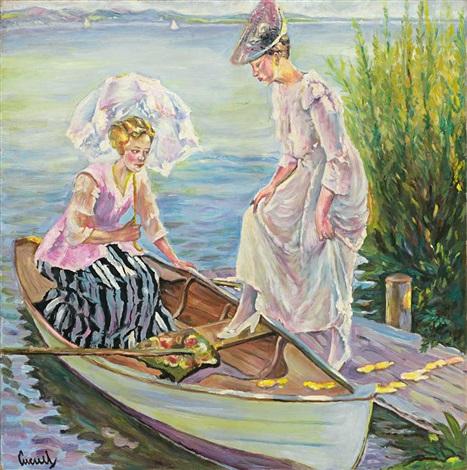 zwei damen besteigen einen nachen uferstück am starnberger see by edward cucuel