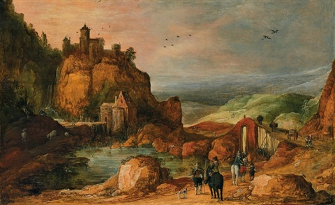 gebirgslandschaft mit wasserfall by joos de momper the younger