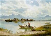 blick auf den chiemsee mit der fraueninsel by hans (stadelhofer) stadelmann