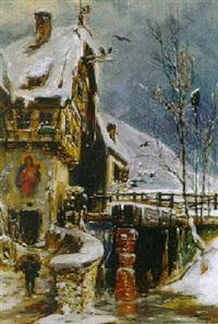 winterliche landschaft mit romantischer, alter mühle by eduard haaga