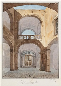 hof in neapel (+ ornamentstudie; dbl-sided; 2 works) by friedrich eugen peipers