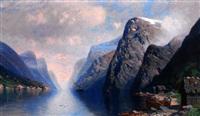 fjordlandschaft an einem sonnigen sommertag by johannes harders