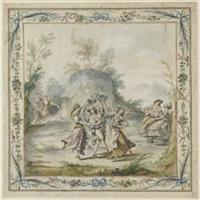 danza campagnola, entro fregio a festoni floreali by fedele fischetti