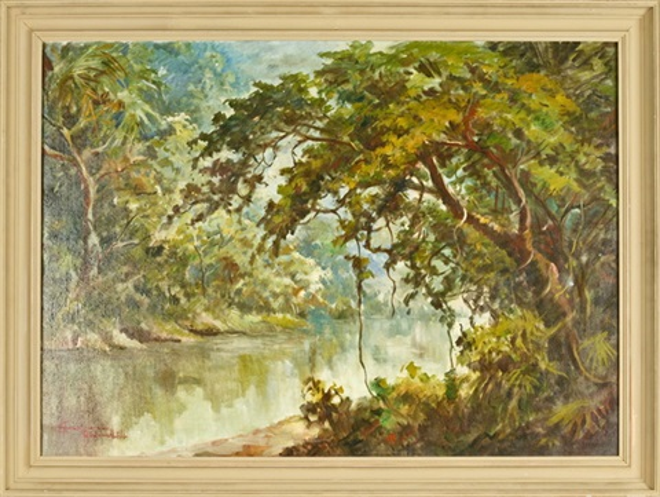 tropische waldlandschaft mit flusslauf by sudjono abdullah