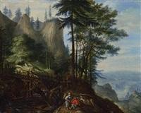böhmische berglandschaft mit brücke, giessbach und rastenden bauern by roelandt savery