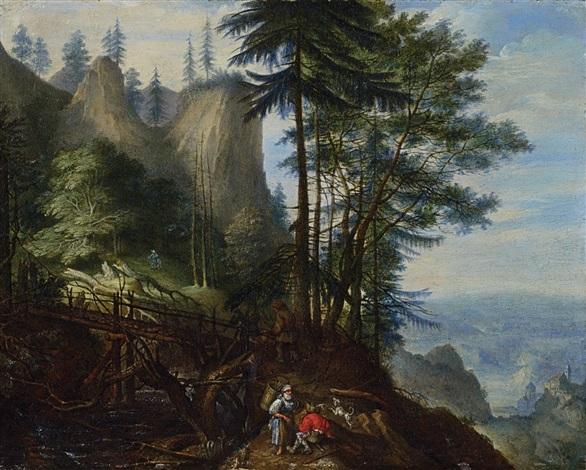 böhmische berglandschaft mit brücke giessbach und rastenden bauern by roelandt savery