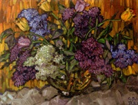 strauß mit flieder und gelben tulpen by gustav a.h. rau