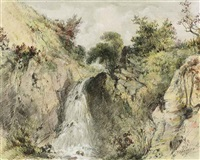 a waterfall in a gorge by patrick nasmyth