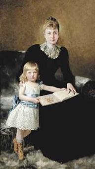 mor og datter. en lille pige får læst op af den store bastian by theodor dengler