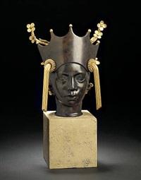 bust resembling a balinese woman's head by arno malinowski