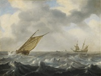 fisherboat on stormy sea by arnoldus van anthonissen