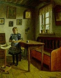 interior med pige der vinder garn by niels holbak