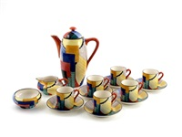 cubist coffee set (15 works) by suzan (ph) cooper