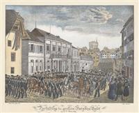darstellung der grossen parade in basel by jakob senn