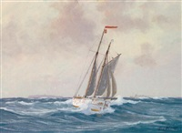 yacht vor helgoland by geo wolters