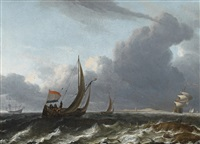 dutch sailing boats on stormy sea by aernout (johann arnold) smit