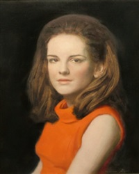 portrait of a young woman seated in a red dress by norman hepple