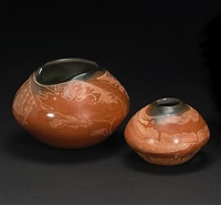two sgraffito jars by jody folwell-naranjo