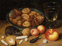 fruit still life with mouse and stag beetle by georg flegel
