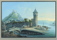 view of st. goarshausen and the ruins of katzenellenbogen by johann ludwig (louis) bleuler