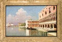 ansicht von venedig, blick auf die stille lagune vor der piazzetta san marco by rafael senet y perez