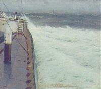 marine med skibe på atlanterhavet by victor quistorff