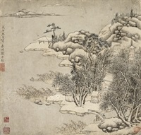 snow landscape by liu yuanqi