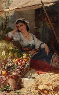 joven napolitana vendiendo fruta by louis emile adan