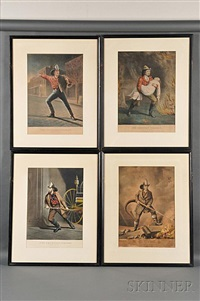 four lithographs from the american fireman series by currier & ives (publishers)