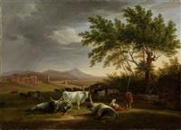 römische campagna-landschaft mit acquedotto claudio im hintergrund by mathias gabriel lory