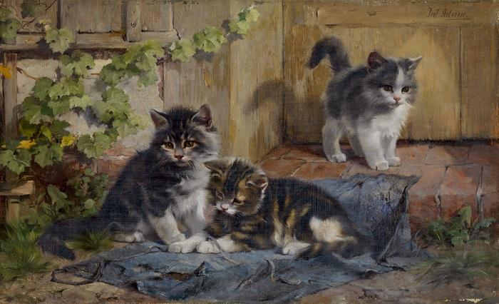 drei kätzchen im garten by julius adam the younger