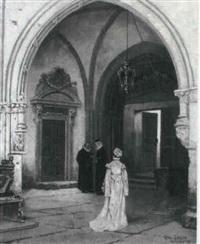 kirkehvaelving hvorunder to praester i samtale samt kvinde by alex (axel) axelson
