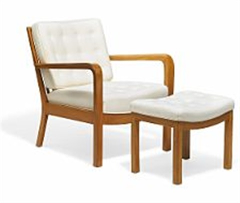 Easy chair and matching stool with frames of elm by Vilhelm ...