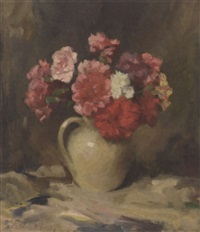 still life of carnations in a white jug by henry raeburn dobson