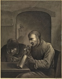 interieur mit zwei rauchenden männern by justus juncker