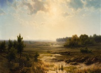 a panoramic moor landscape by cornelis lieste