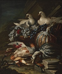 still life with two white doves by jacob van der kerckhoven