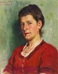 portrait einer jungen frau, ausdrucksvoll charakterisiert by emil rau