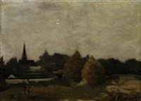landschaft mit heustöcken by henri rousseau