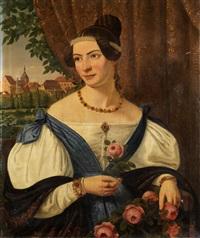 biedermeier-portrait einer jungen dame mit rosenstrauch und rosenblüte vor dem hintergrund einer stadtlandschaft by ferdinand hauptner