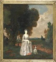 dame mit hund im park by theodor baierl