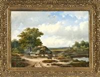 spätromantische landschaft, hirte mit schafen vor dem stall by hermanus jan hendrik rijkelijkhuysen