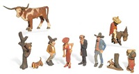 whimsical western sculptural works (various sizes; 10 works) by herbert (andy) anderson