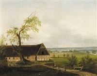 landskab med hojtliggende bondegård by frederik michael ernst fabritius de tengnagel